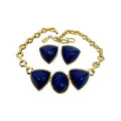 Vintage Yves Saint Laurent Blue Chunky Geometric Earrings Necklace Set