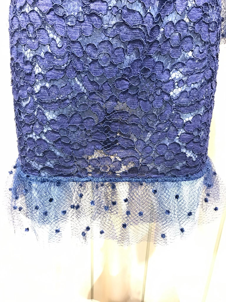 Vintage Yves Saint Laurent Blue Lace Fitted Cocktail Dress For Sale 7