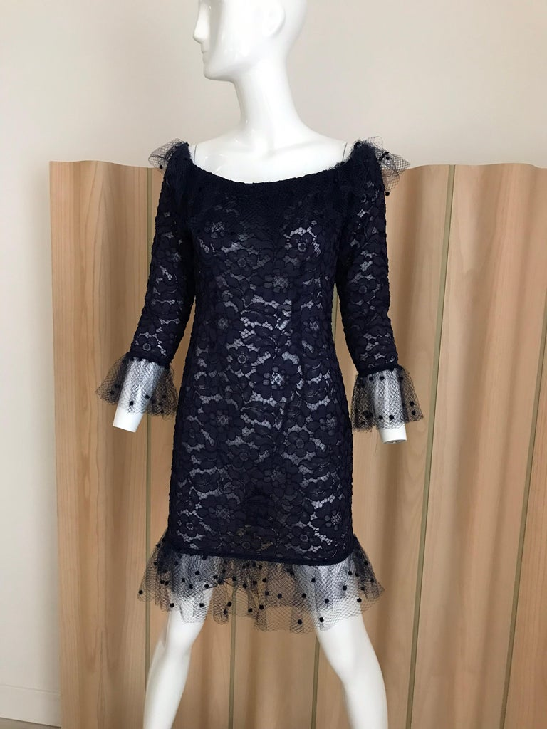 Vintage Yves Saint Laurent Blue Lace Fitted Cocktail Dress For Sale 9