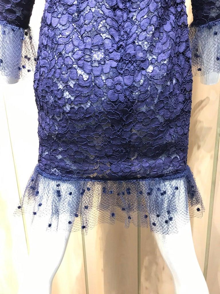 Vintage Yves Saint Laurent Blue Lace Fitted Cocktail Dress For Sale 10