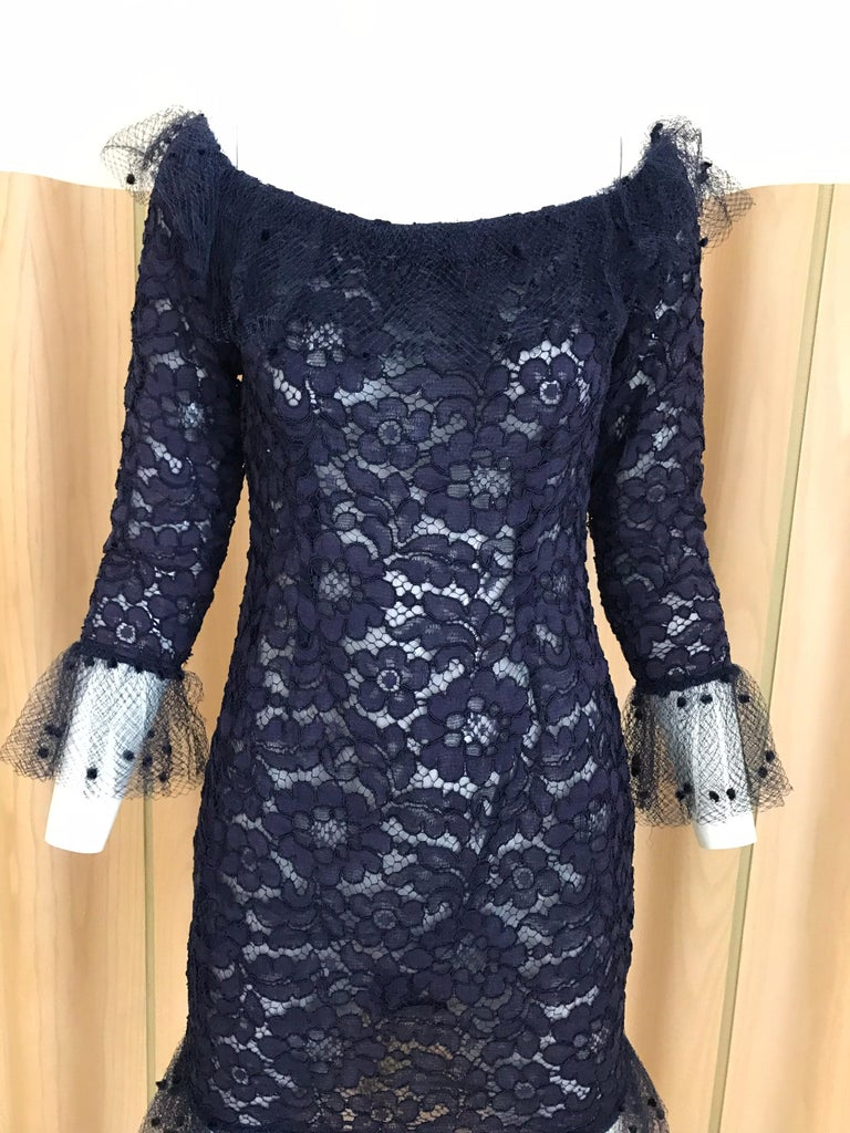 Women's Vintage Yves Saint Laurent Blue Lace Fitted Cocktail Dress For Sale