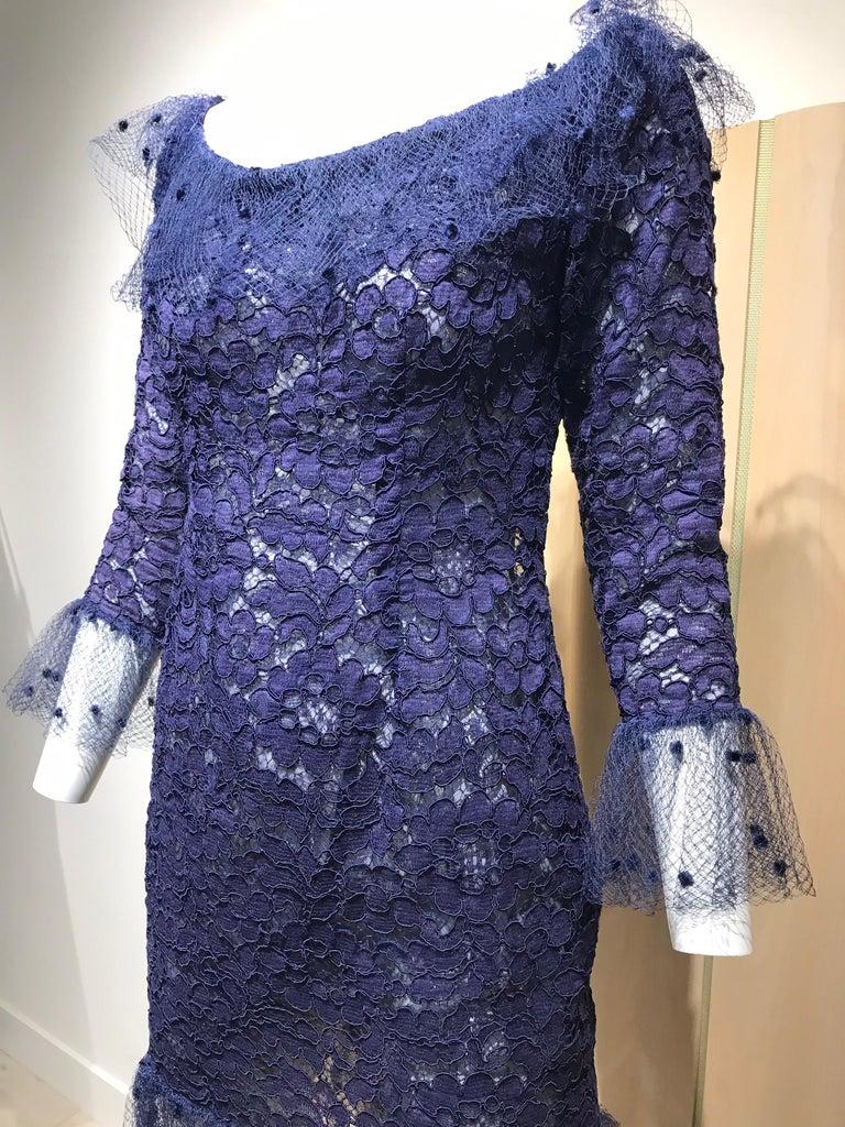 Vintage Yves Saint Laurent Blue Lace Fitted Cocktail Dress For Sale 2