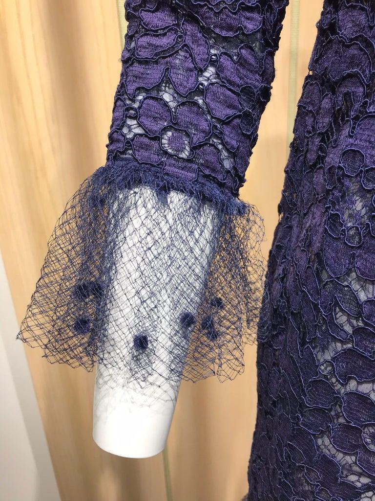 Vintage Yves Saint Laurent Blue Lace Fitted Cocktail Dress For Sale 3
