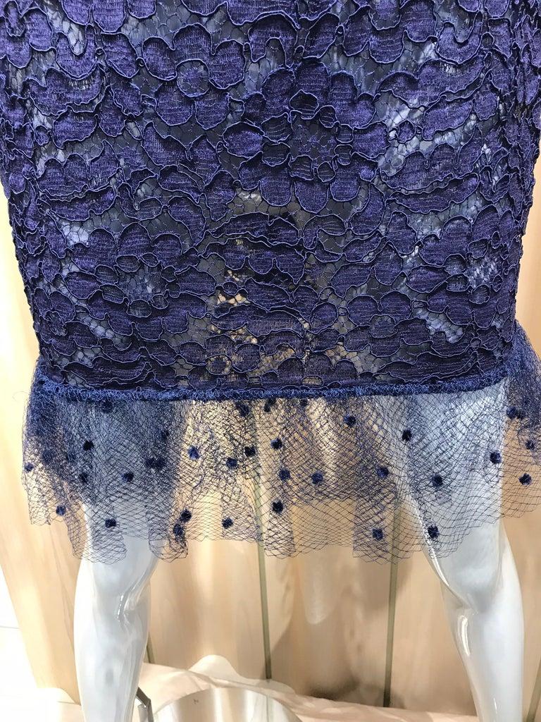 Vintage Yves Saint Laurent Blue Lace Fitted Cocktail Dress For Sale 4