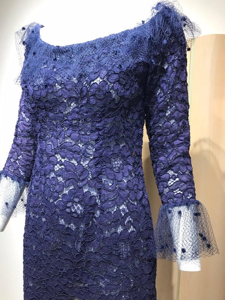 Vintage Yves Saint Laurent Blue Lace Fitted Cocktail Dress For Sale 5