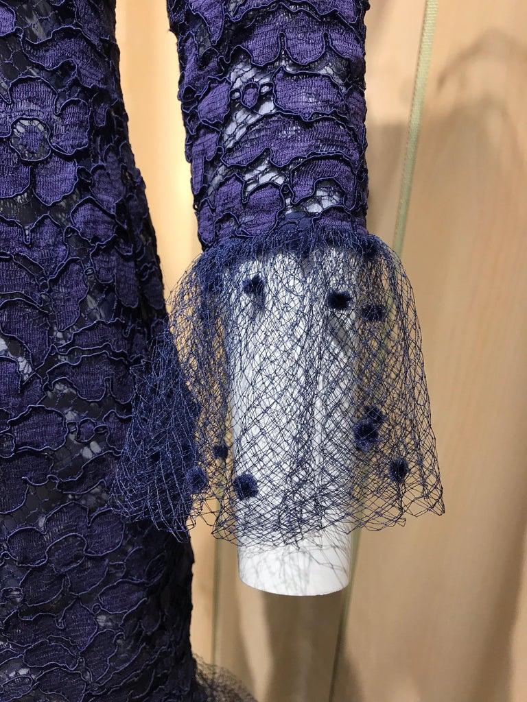 Vintage Yves Saint Laurent Blue Lace Fitted Cocktail Dress For Sale 6