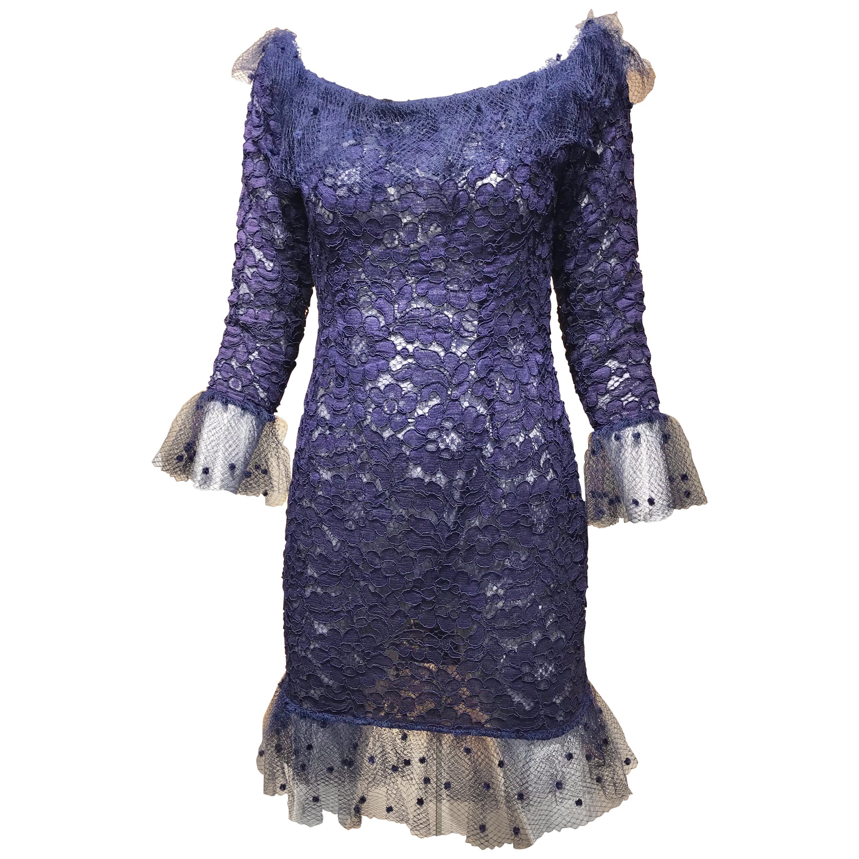 Vintage Yves Saint Laurent Blue Lace Fitted Cocktail Dress