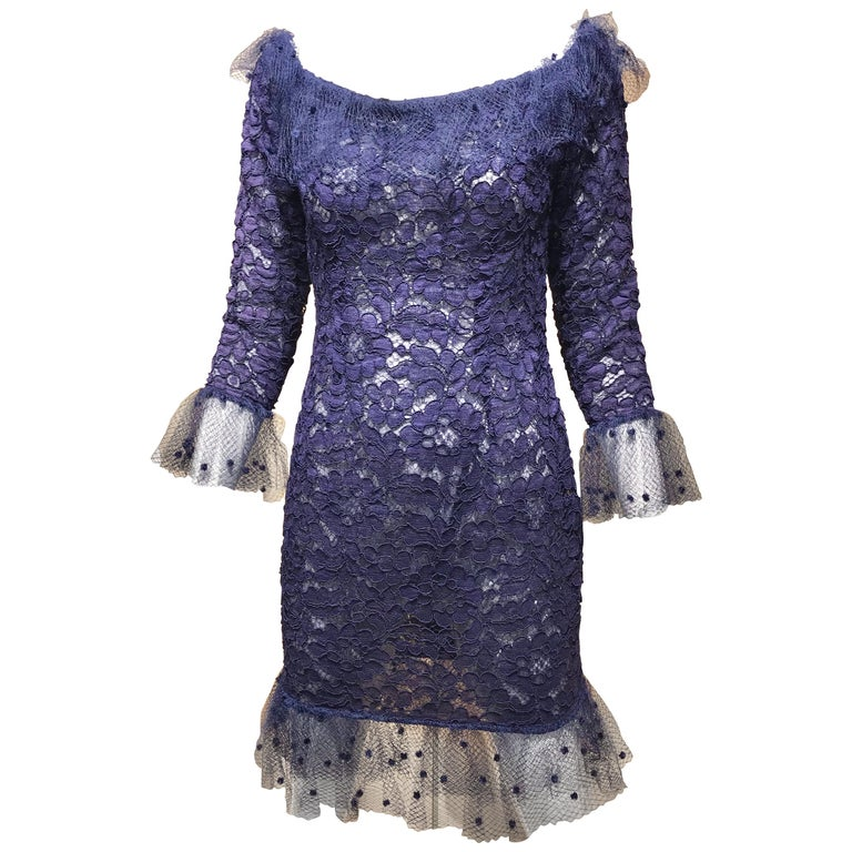 Vintage Yves Saint Laurent Blue Lace Fitted Cocktail Dress For Sale