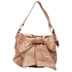vintage YVES SAINT LAURENT Bow Chevre tan brown leather ribbon flap shoulder bag