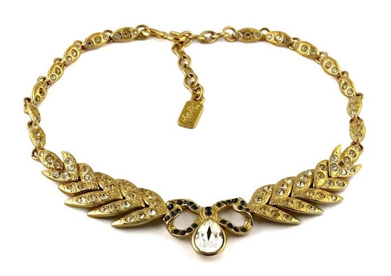 Vintage YVES SAINT LAURENT Bow Leaf Rhinestone Necklace In Excellent Condition For Sale In Kingersheim, Alsace