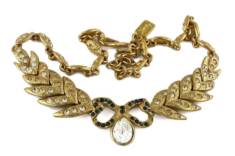 Women's Vintage YVES SAINT LAURENT Bow Leaf Rhinestone Necklace For Sale