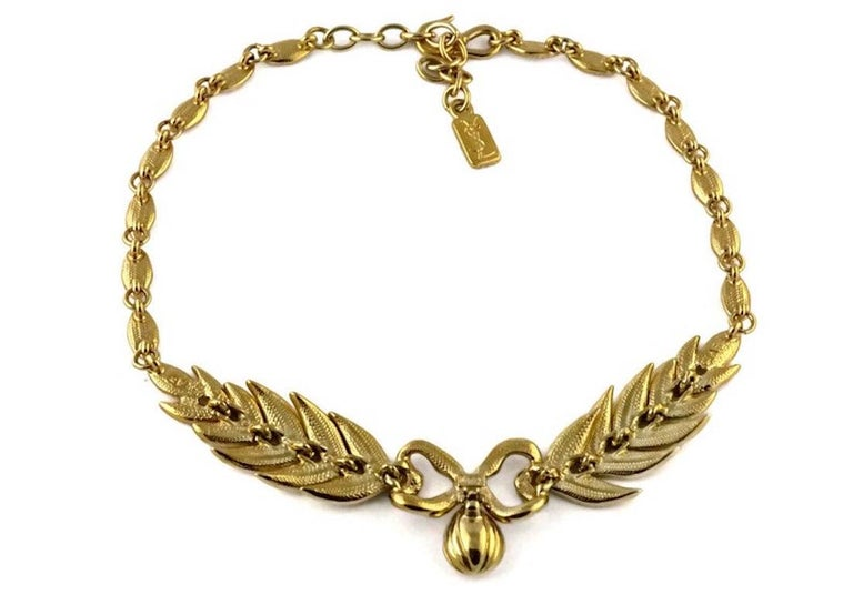Vintage YVES SAINT LAURENT Bow Leaf Rhinestone Necklace For Sale 1