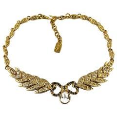 Vintage YVES SAINT LAURENT Bow Leaf Rhinestone Necklace