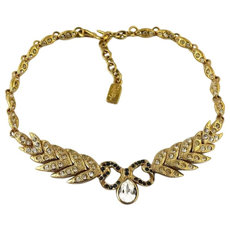 Vintage YVES SAINT LAURENT Bow Leaf Rhinestone Necklace For Sale