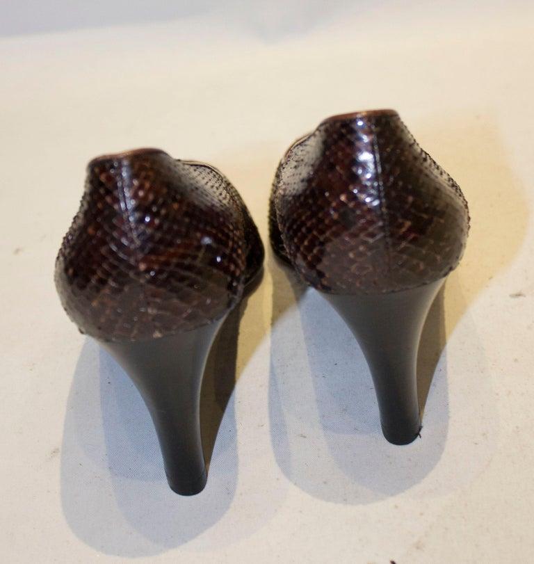Women's Vintage Yves Saint Laurent Brown and Black Snakeskin Shoes For Sale