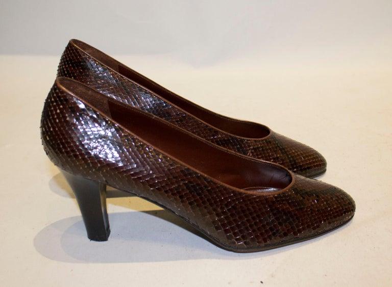 Vintage Yves Saint Laurent Brown and Black Snakeskin Shoes For Sale 1