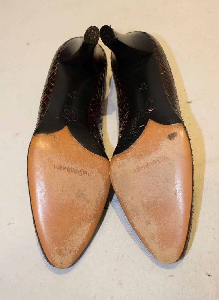 Vintage Yves Saint Laurent Brown and Black Snakeskin Shoes For Sale 2
