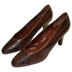 Vintage Yves Saint Laurent Brown and Black Snakeskin Shoes