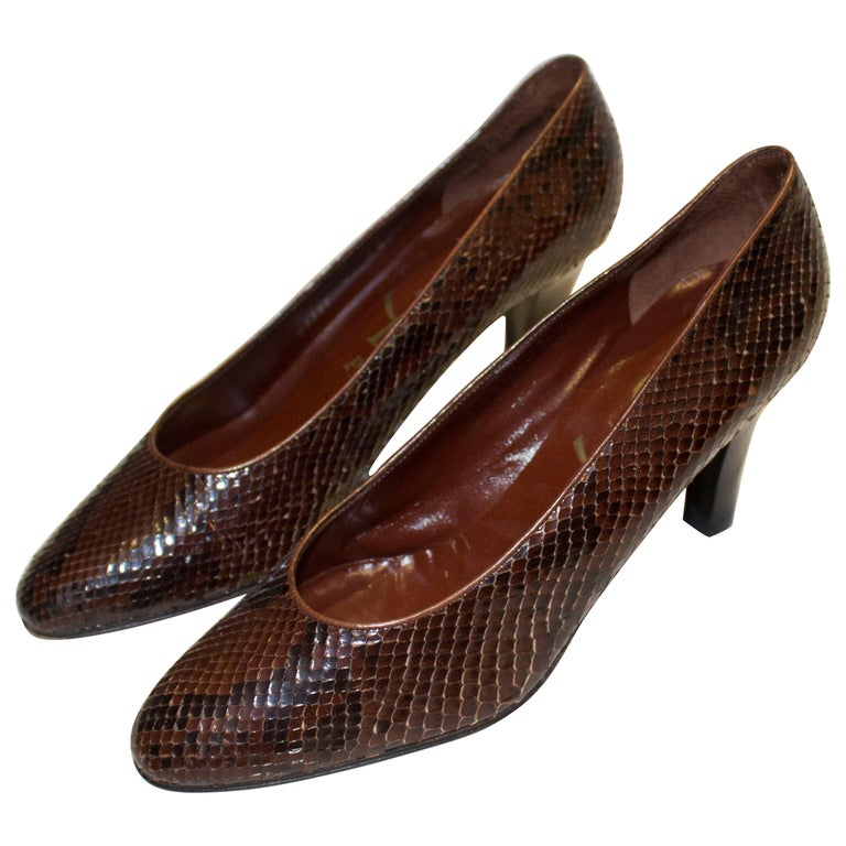 Vintage Yves Saint Laurent Brown and Black Snakeskin Shoes For Sale