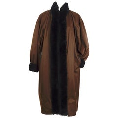 Vintage Yves Saint Laurent brown coat lined with chinchilla and shearling trim