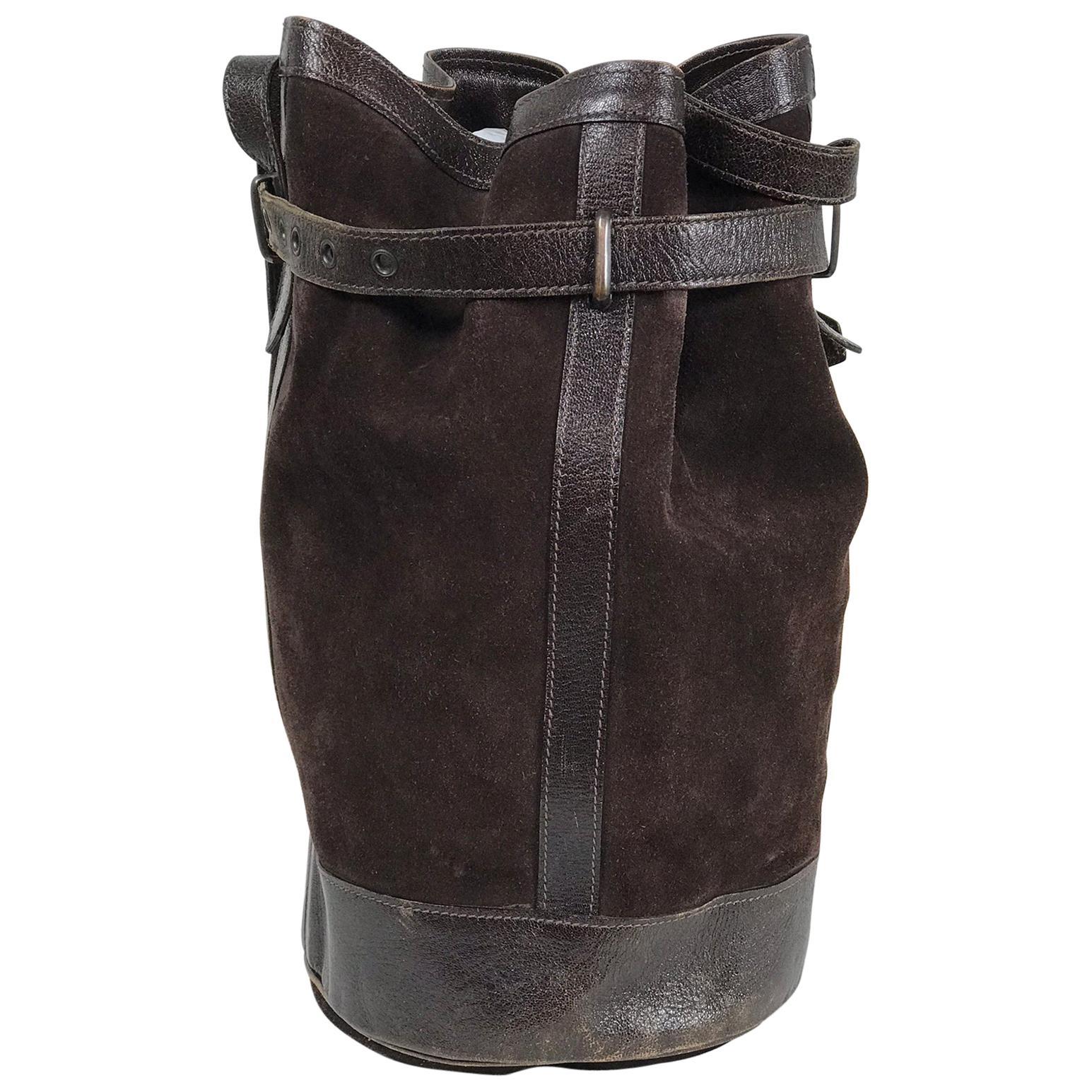Vintage Yves Saint Laurent Brown Suede and Leather Bucket Shoulder bag
