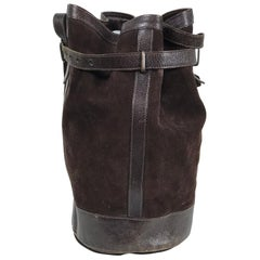 Vintage Yves Saint Laurent Brown Suede and Leather Bucket Shoulder bag