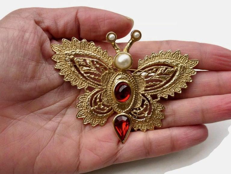 Women's or Men's Vintage YVES SAINT LAURENT Butterfly Brooch by Robert Goossens For Sale