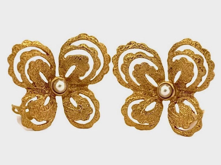 Vintage YVES SAINT LAURENT Butterfly Earrings by Robert Goossens In Excellent Condition For Sale In Kingersheim, Alsace