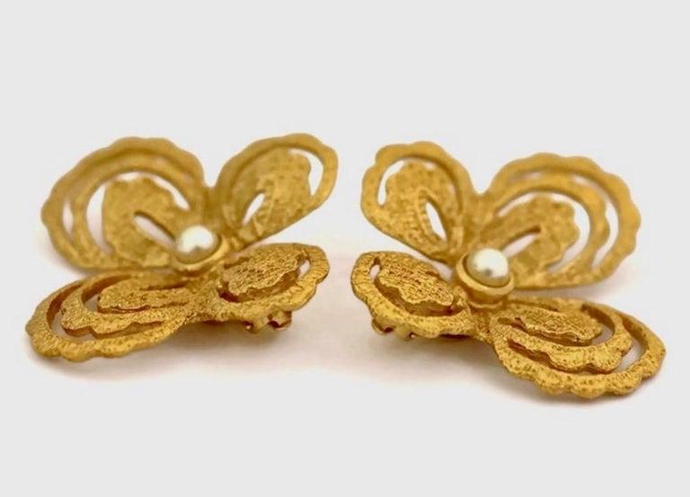 Women's Vintage YVES SAINT LAURENT Butterfly Earrings by Robert Goossens For Sale