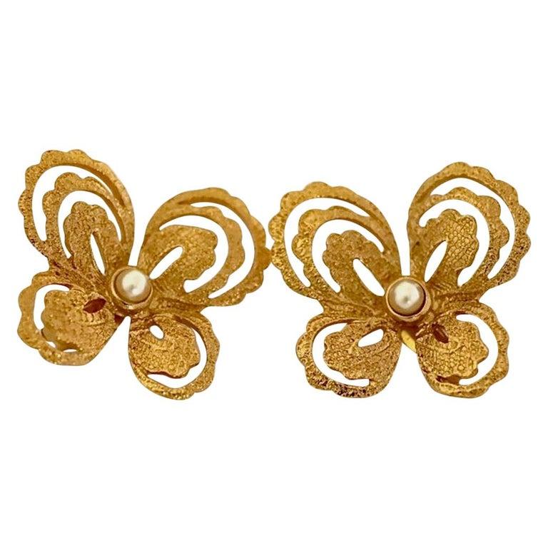Vintage YVES SAINT LAURENT Butterfly Earrings by Robert Goossens For Sale