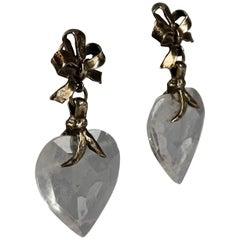 Vintage YVES SAINT LAURENT by Robert Goossens Bow Glass Heart Dangling Earrings