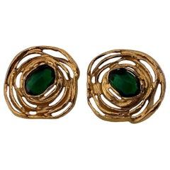 Vintage YVES SAINT LAURENT by Robert Goossens Emerald Flower Earrings