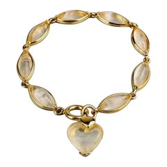 Vintage YVES SAINT LAURENT by Robert Goossens Glass Crystal Heart Charm Bracelet
