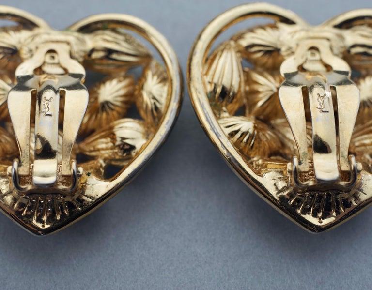 Vintage YVES SAINT LAURENT by Robert Goossens Green Heart Rhinestones Earrings For Sale 6