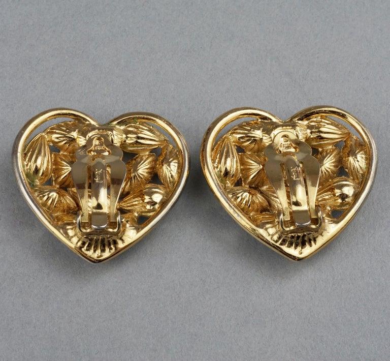 Vintage YVES SAINT LAURENT by Robert Goossens Green Heart Rhinestones Earrings For Sale 7