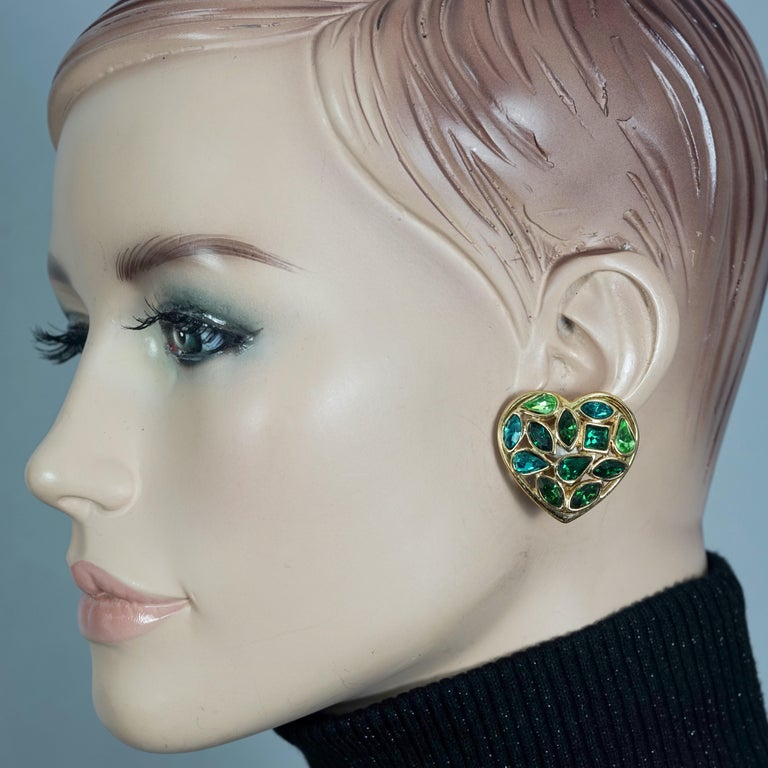 Vintage YVES SAINT LAURENT by Robert Goossens Green Heart Rhinestones Earrings  Measurements: Height: 1.38 inches (3.5 cm) Width: 1.26 inches (3.2 cm) Weight per Earring: 13 grams  Features: - 100% Authentic YVES SAINT LAURENT by Goossens. - Heart
