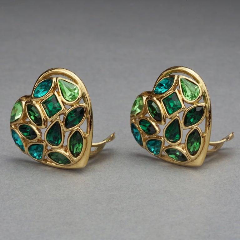 Women's Vintage YVES SAINT LAURENT by Robert Goossens Green Heart Rhinestones Earrings For Sale