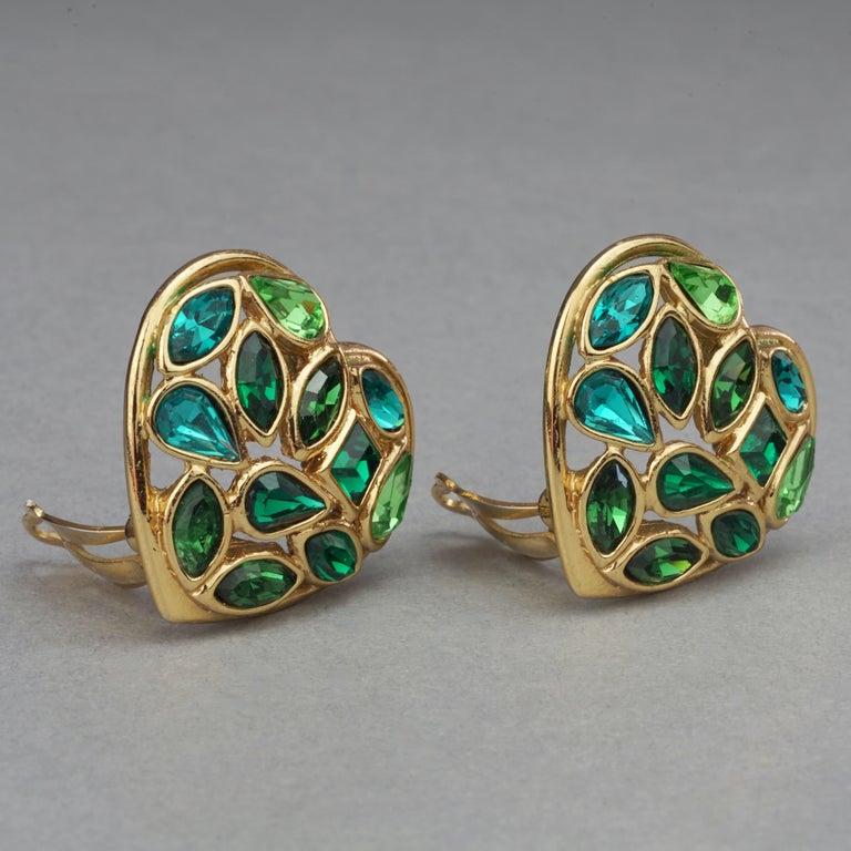 Vintage YVES SAINT LAURENT by Robert Goossens Green Heart Rhinestones Earrings For Sale 1