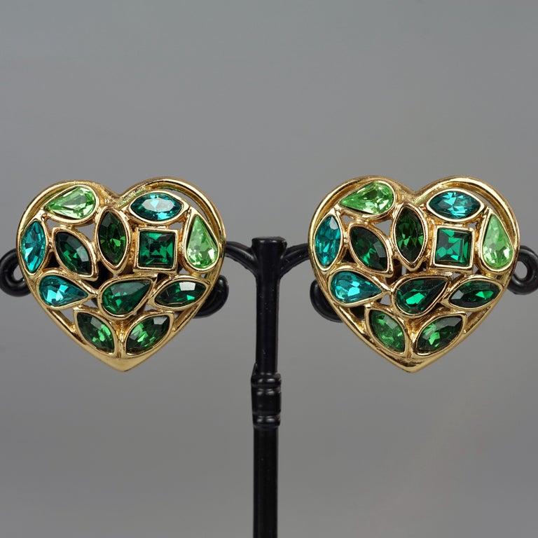 Vintage YVES SAINT LAURENT by Robert Goossens Green Heart Rhinestones Earrings For Sale 2