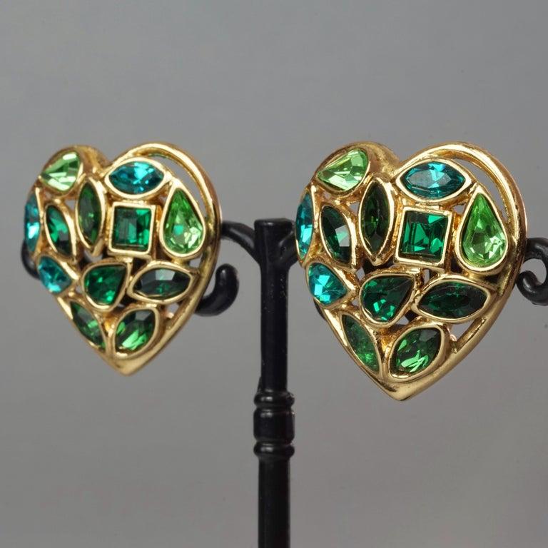 Vintage YVES SAINT LAURENT by Robert Goossens Green Heart Rhinestones Earrings For Sale 3