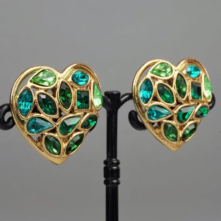 Vintage YVES SAINT LAURENT by Robert Goossens Green Heart Rhinestones Earrings For Sale 4