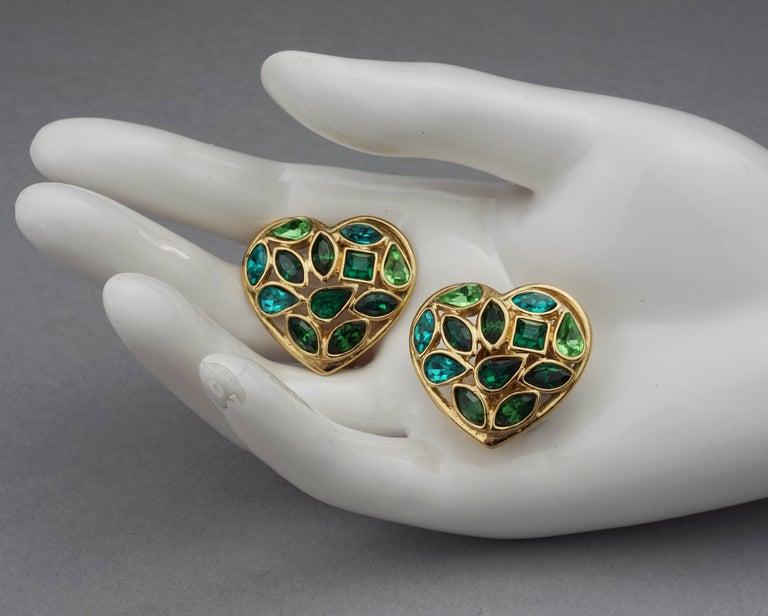 Vintage YVES SAINT LAURENT by Robert Goossens Green Heart Rhinestones Earrings For Sale 5