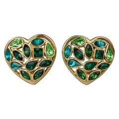 Vintage YVES SAINT LAURENT by Robert Goossens Green Heart Rhinestones Earrings