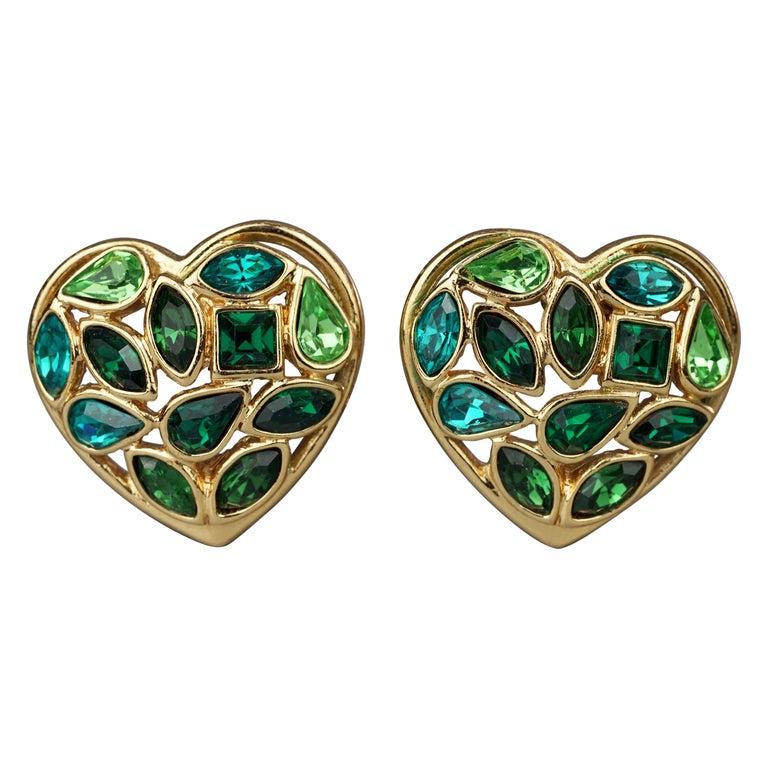 Vintage YVES SAINT LAURENT by Robert Goossens Green Heart Rhinestones Earrings For Sale