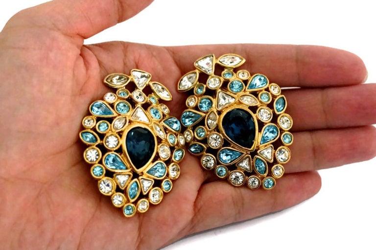 Women's Vintage YVES SAINT LAURENT by Robert Goossens Multi Jewelled Earrings For Sale