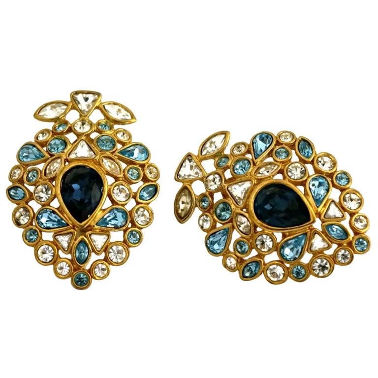 Vintage YVES SAINT LAURENT by Robert Goossens Multi Jewelled Earrings For Sale