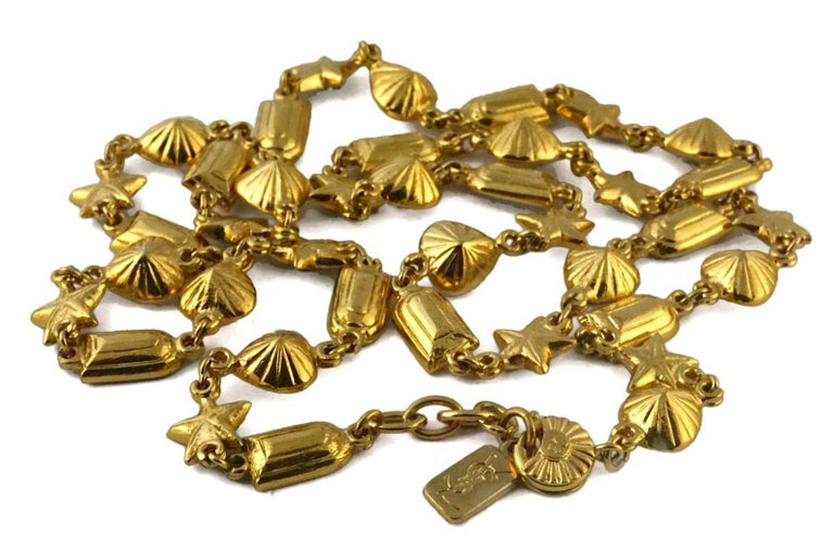 Vintage YVES SAINT LAURENT by Robert Goossens Rhinestones Sautoir Long Necklace For Sale 1