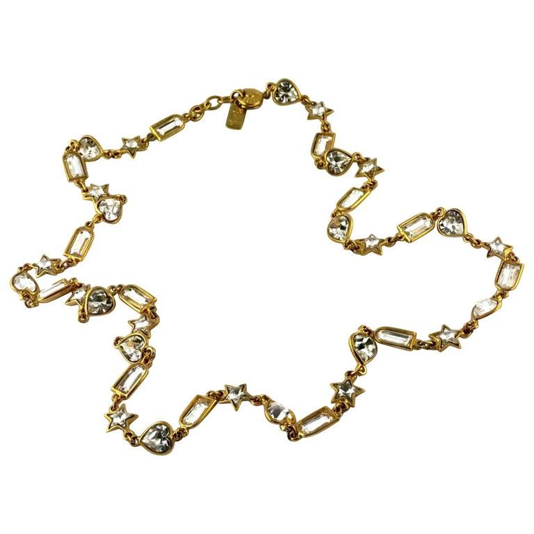 Vintage YVES SAINT LAURENT by Robert Goossens Rhinestones Sautoir Long Necklace For Sale