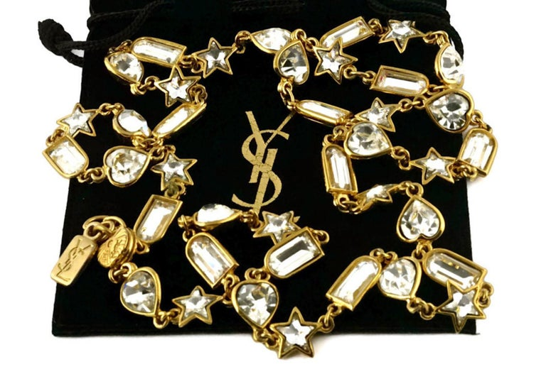 Vintage YVES SAINT LAURENT by Robert Goossens Rhinestones Sautoir Long Necklace  Measurements: Length: 36 2/8 inches  Features: - 100% Authentic YVES SAINT LAURENT. - Sparkly faceted rhinestones in rectangle, star and heart shapes. - Lobster clasp