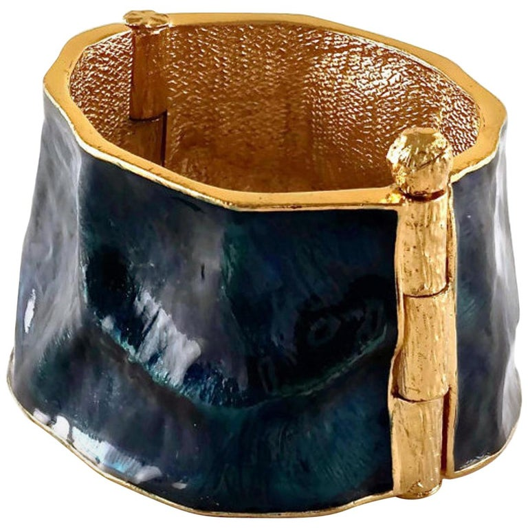 Vintage YVES SAINT LAURENT by Robert Goossens Wrinkled Enamel Cuff Bracelet For Sale